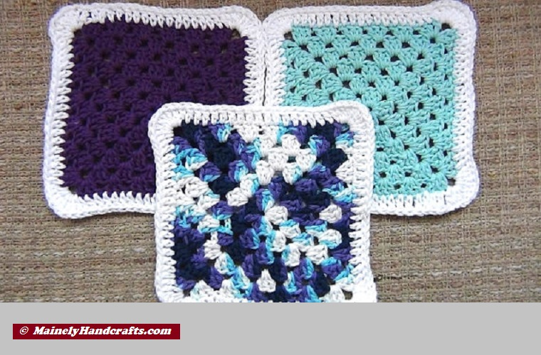 Crocheted Cotton Dishcloth Set of 3 Purple Blue Variegated