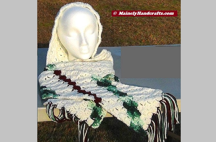 Hooded Scarf White with Maroon and Green Stripes