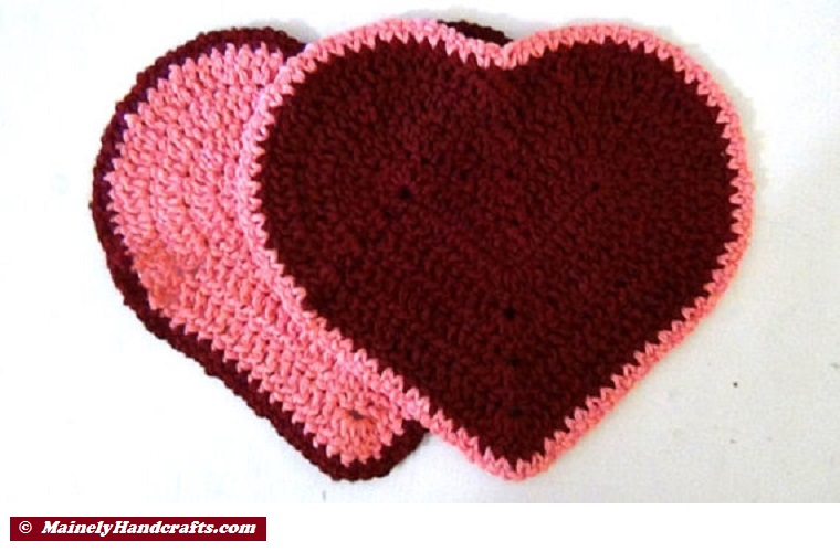 Valentine Heart Washcloth Set of 2 Pink and Maroon