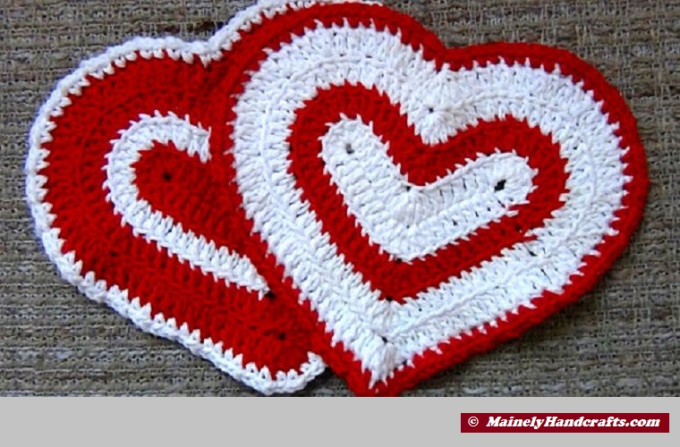 Valentines Day Heart Washcloth Set of 2-Red and White