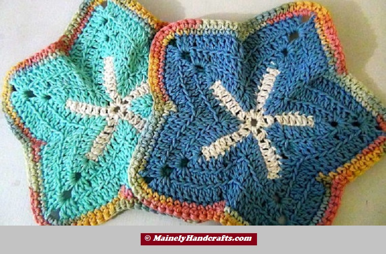 Washcloth -Blue Starfish Set of 2